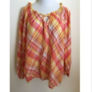 Lane Bryant Womens Plus Plaid Peasant Blouse